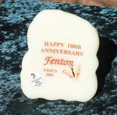 Fenton Burmese. Plaque *glows* 100Th Anniversary