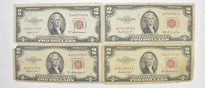 Lot (4) Red Seal $2.00 US 1953 or 1963 Notes - Currency Collection *455
