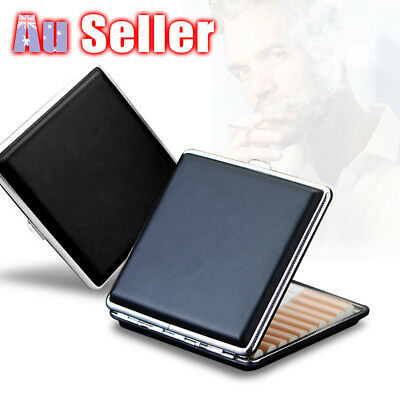 Holder Box Cigar Cigarette Tobacco Case Stainless Steel PU Leather Pocket Pouch
