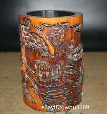 Asian Chinese Bamboo Pen holder Hand Carved Landscape old man & boat Brush Pots