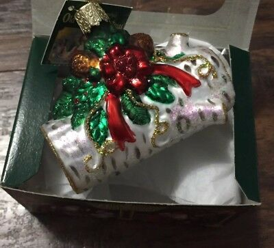 """Yule Log"" (36067)X Old World Christmas Glass Ornament New w/OWC Box"