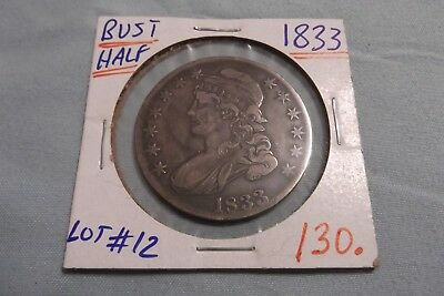 1833 Capped Bust Half Dollar   ... Lot 12 ......  Free Shipping