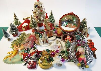 Vintage Christmas Junk Drawer Altered Art Collage Collectibles Art Supplies Lot