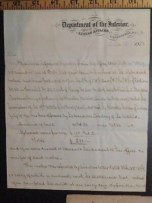 680 Wm F Cady Signed Letter 1870 Indian Affairs Cherokee Neutral Indian Wars Era