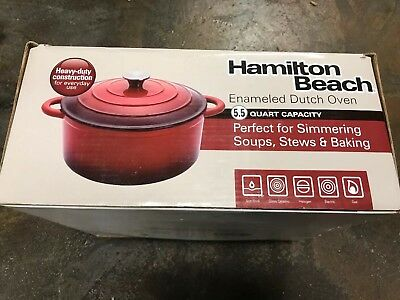 Hamilton Beach 5.5 Quart Enameled Cast Iron Covered Round Dutch Oven Pot, Red