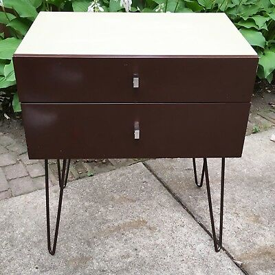 Roger Rougier side table 2 drawer Lacquered cabinet Mid Century Modern Canada