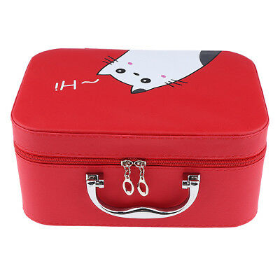 PU Leather Cosmetic Train Case Makeup Toiletry Storage Box Jewellery Bag