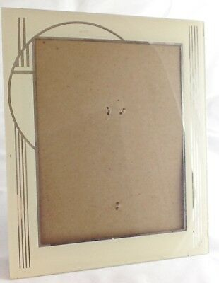 "Vintage Art Deco Reverse Painted Picture Frame Cream & Mirror 8""X10"