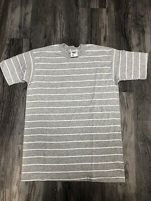 Vintage Deadstock Blank Shirt Gray White Striped Single Stitch Tennessee River M
