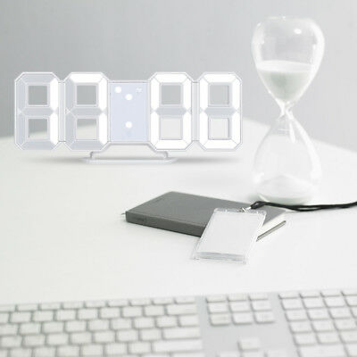 LED Digital 3D Display Table Wall Clock Alarm Clock Snooze Timer Battery Backup