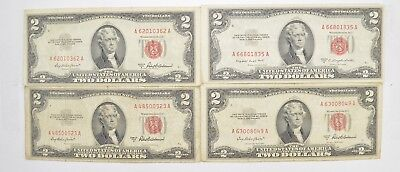 Lot (4) Red Seal $2.00 US 1953 or 1963 Notes - Currency Collection *549