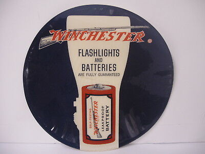 Rare Original Winchester Flashlights and Batteries glass Window round Decal