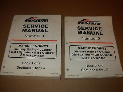 MerCruiser Marine Engines Service Manual 2 Vol Set , 4 6 V-8 Cylinder , 1980's