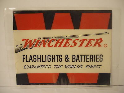 Rare Original Winchester Flashlights and Batteries glass Window Decal