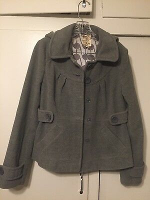Tulle Anthropologies Grey Winter Coat w/Removable Hood Womens Large EUC