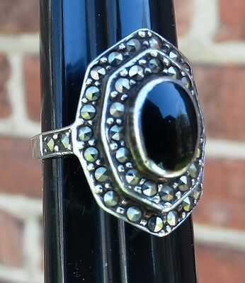 Vintage Art Deco Tiered Sterling Silver Marcasite Onyx Ring Size 7.5
