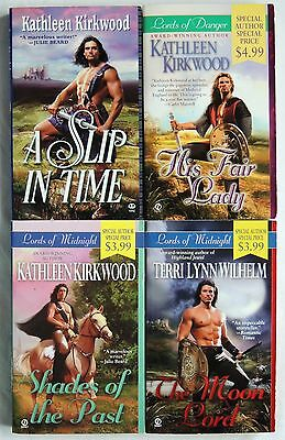4 PBs Kathleen Kirkwood+ LORDS OF:DANGER/MIDNIGHT Medieval/Knights/Time Travel
