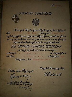 Poland Polish Officers Patent  from 1937 with reservist badge and photos