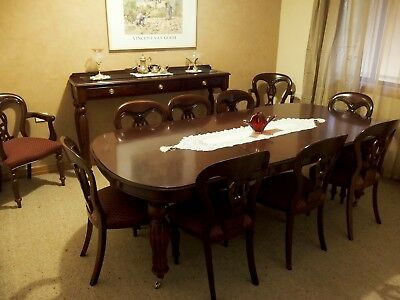 Antique Reproduction Mahogany  Dining Suite With Sideboard Bar Trolley And Lamp