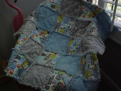 Boutique Baby Boy Rag Quilt ~IN THE CITY ~CARS ~ HandMade