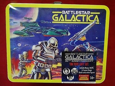Battlestar Galactica Tin Lunchbox with 3 Action Figures Lunch Box