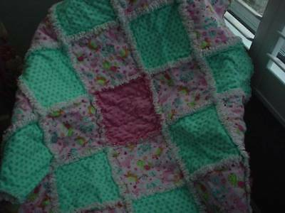 Baby Girl rag quilt ~ Pink  ~ Aqua ~ Dinosaurs and Dots~