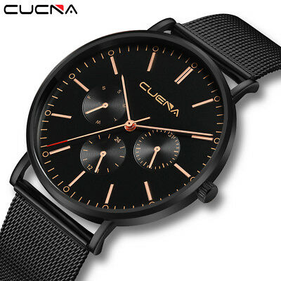 Fashion Mens Luxury Watch Slim Mesh Steel Waterproof Quartz ANlog Wrist Watches