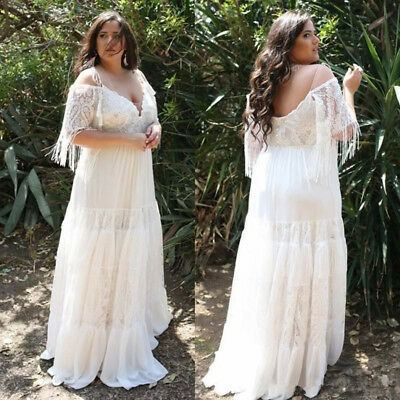PLUS SIZE WHITE/IVORY Lace Wedding Dress Spaghetti Straps ...