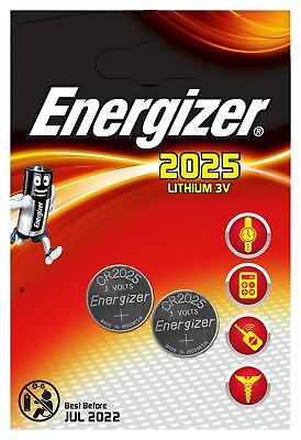 2 X Energizer 2025 3V Lithium Coin Cell Batteries CR2025, DL2025 - ONLY £1.55