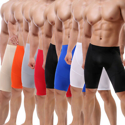 Men's Tight Middle Pants Brief Sport Short Leggings Fitness Gym Tight Underwear