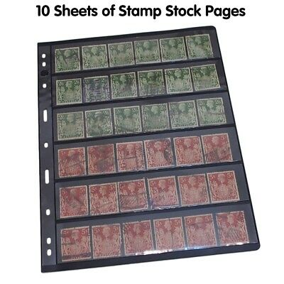 10 Sheets Stamp Stock Pages (6 Strips) w 9 Binder Holes - Black &Double Sided GL