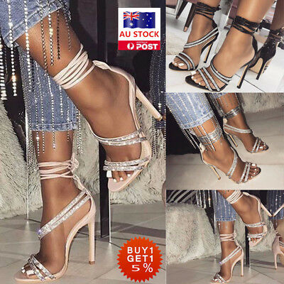 Women Studded Open Toe High Heel Sandals Ladies Pointed Ankle Strappy Shoes Size