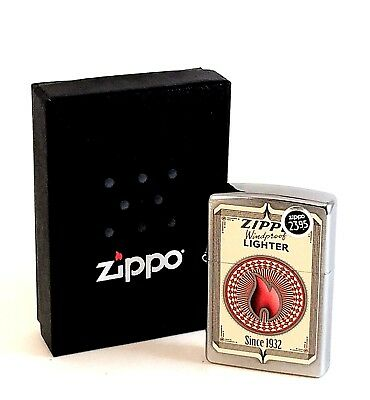 BRAND-NEW Zippo Brushed Chrome Trading Cards Windproof Lighter In Box, # 28831