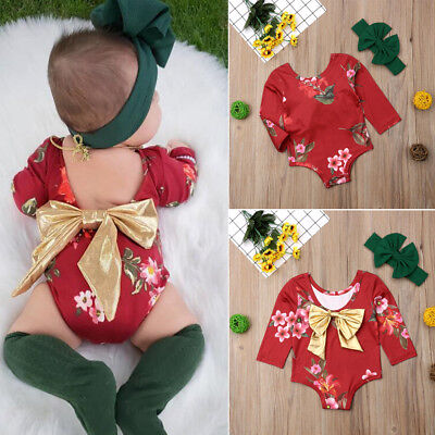 Newborn Baby Girl Clothes Flower Jumpsuit Romper Bodysuit Headband Outfit Set