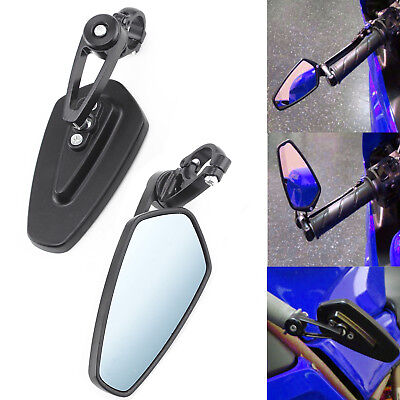 7/8'' Motorcycle Bar End Rear View Side Mirrors Universal  Rearview Pair Black