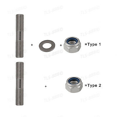 M8*40~100mm Double End Thread Stud Bar Rod Bolts+Nyloc Nut+Flat Washer Kit -A4SS