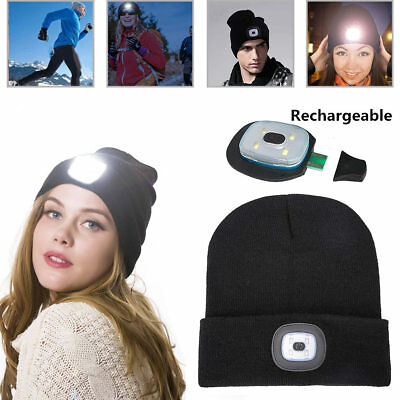 6602ec87a 4 LED LIGHT Cap Headlamp Beanie-Hat USB Rechargeable Hat For Camping ...