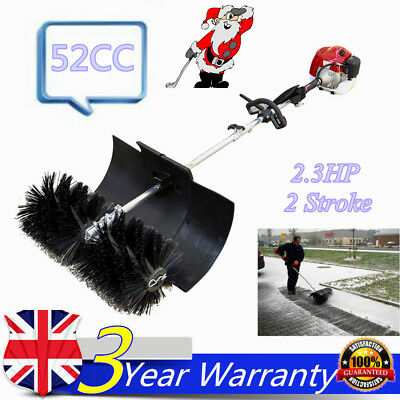 52Cc Gas Power Sweeper Hand Held Broom Concrete Cleaning Driveway Walk Behind Uk