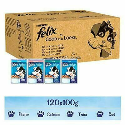 Felix As Good It Looks Cat Food, Mixed Fish, 120 x 100 g (120 Pouches)