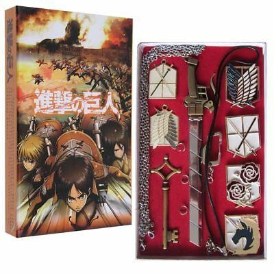 Anime Attack On Titan Eren 8PCS Keychain & Necklace Bronze Set in Box