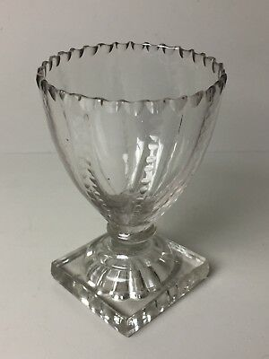 Georgian Victorian Antique Rummer Glass With Square Base And Scallop Top
