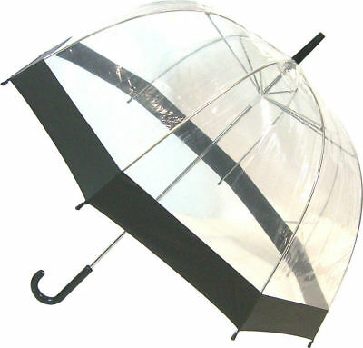 SOAKE Clear Dome Umbrella with Walking Stick Handle with Black Trim *FREE POST*