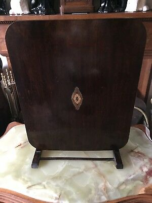 Edwardian fire screen/folding table with marquetry inlay
