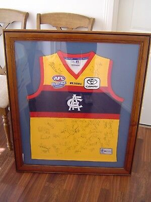 Fully Framed and Team Signed 2005 Adelaide Crows Heritage Round Guernsey -