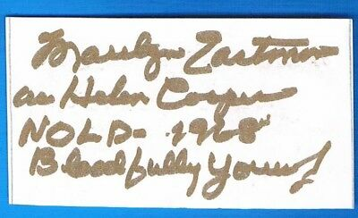 2x3  index Autographed Card signed By Marilyn Eastman, Night Of Living Dead