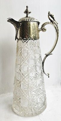 Antique  Silver Plate Mounted Ornate Glass Claret Jug With Hinged Lid