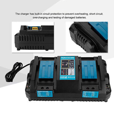 1pc DC18RD 18V Lithium-Ion Dual port battery charger Fits for Makita 18V battery