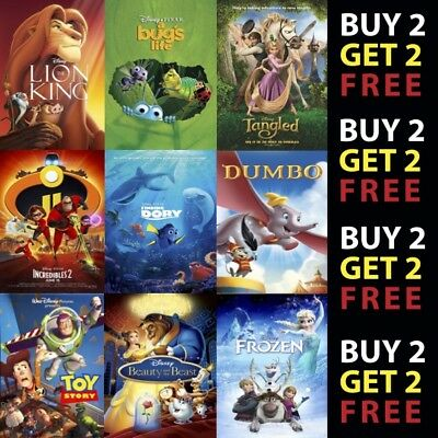 Disney Cartoon/Animation Movie Posters Film Cinema Wall Decor A4 A3 300Gsm Paper