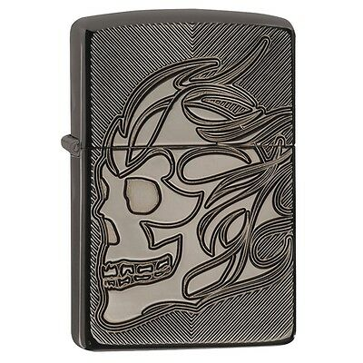 Zippo 29230, Armor, Deep Carved Skull, Black Ice Chrome Lighter, Full Size
