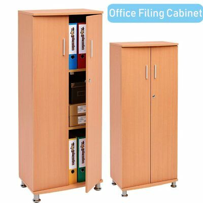 Beech Filing cabinet lockable two door 3 shelves storage cupboard office home